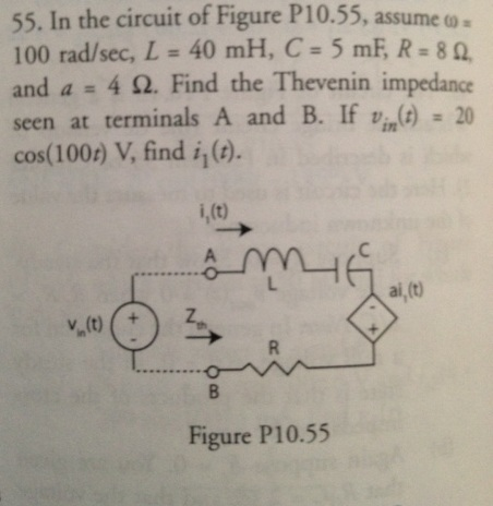 In the circuit of Figure P10.55. assume omega = 10