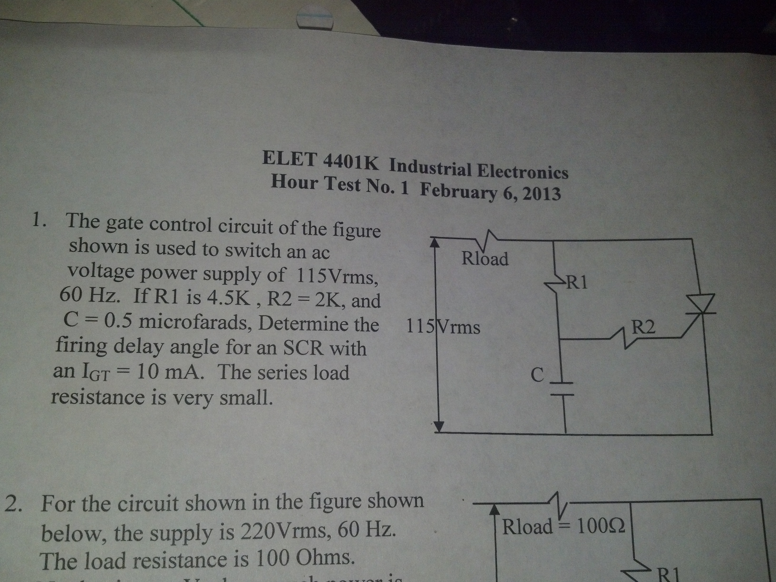 ELET 4401K Industrial Electronics Hour Test No. 1