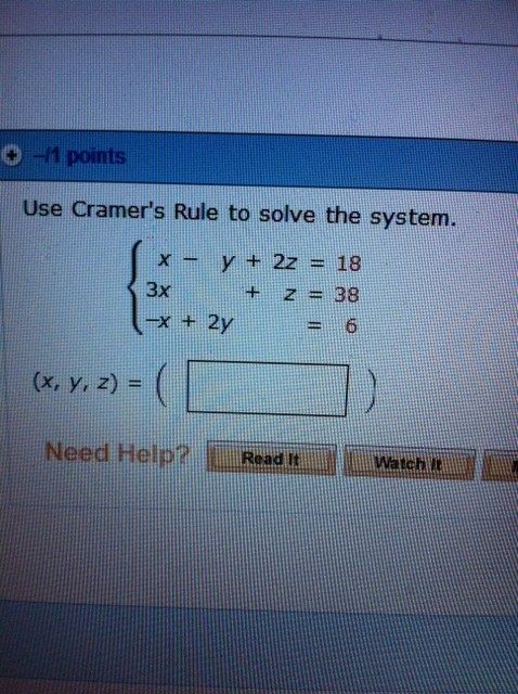 Use Cramer's Rule to solve the system. (x, y, z)