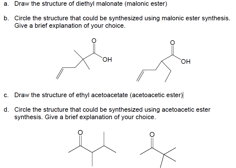 Draw the structure of diethyl malonate (malonic es