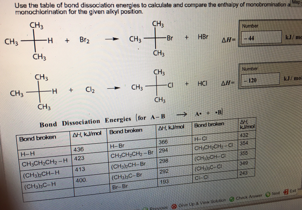 Solved use the table of bond dissociation energies to cal for Table use th