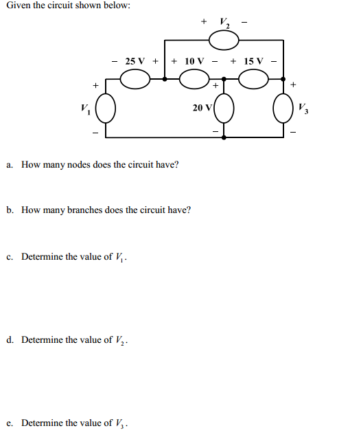 Given the circuit shown below: How many nodes doe