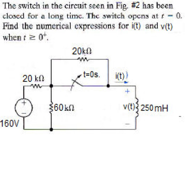 The switch in the circuit seen in Fig. #2 has been
