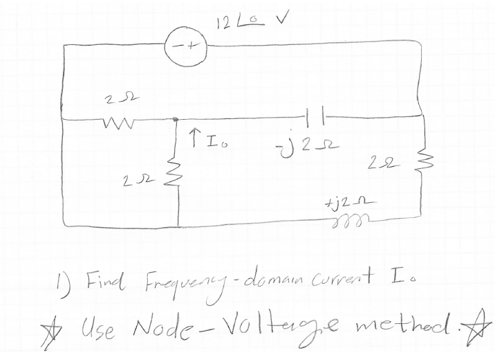 Find Frequency-domain current Io use Node-Voltage
