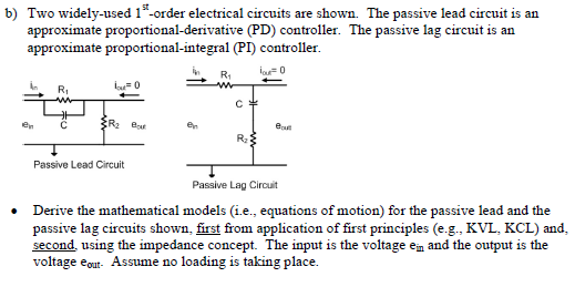 Two widely-used 1st-order electrical circuits are