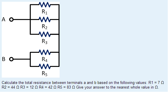 Calculate the total resistance between terminals a