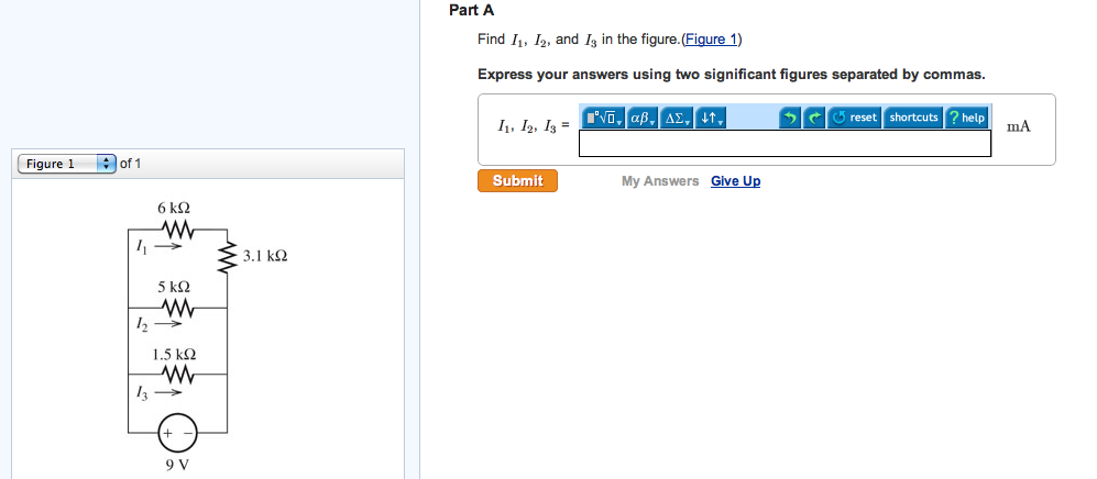 Find I1, I2, and I3 in the figure.(Figure 1) Expr