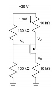 VGS(th)= -4 V and IDSS= 16 mA for the MOSFET in th