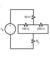 If the voltage across Rc in the figure is 10% of v