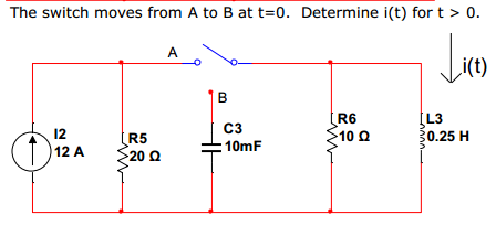 The switch moves from A to B at t=0. Determine i(t