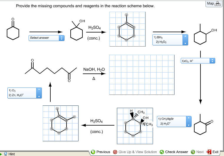 Provide the missing compounds and reagents in the