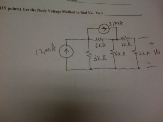 Use the Node Voltage Method to find Vo. Vo=