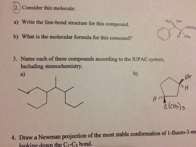Consider this molecule: Write the line-bond struc