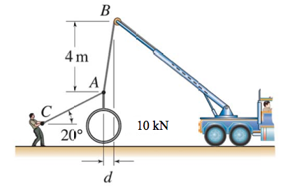 A crane is used to lift a concrete pipe weighing 1
