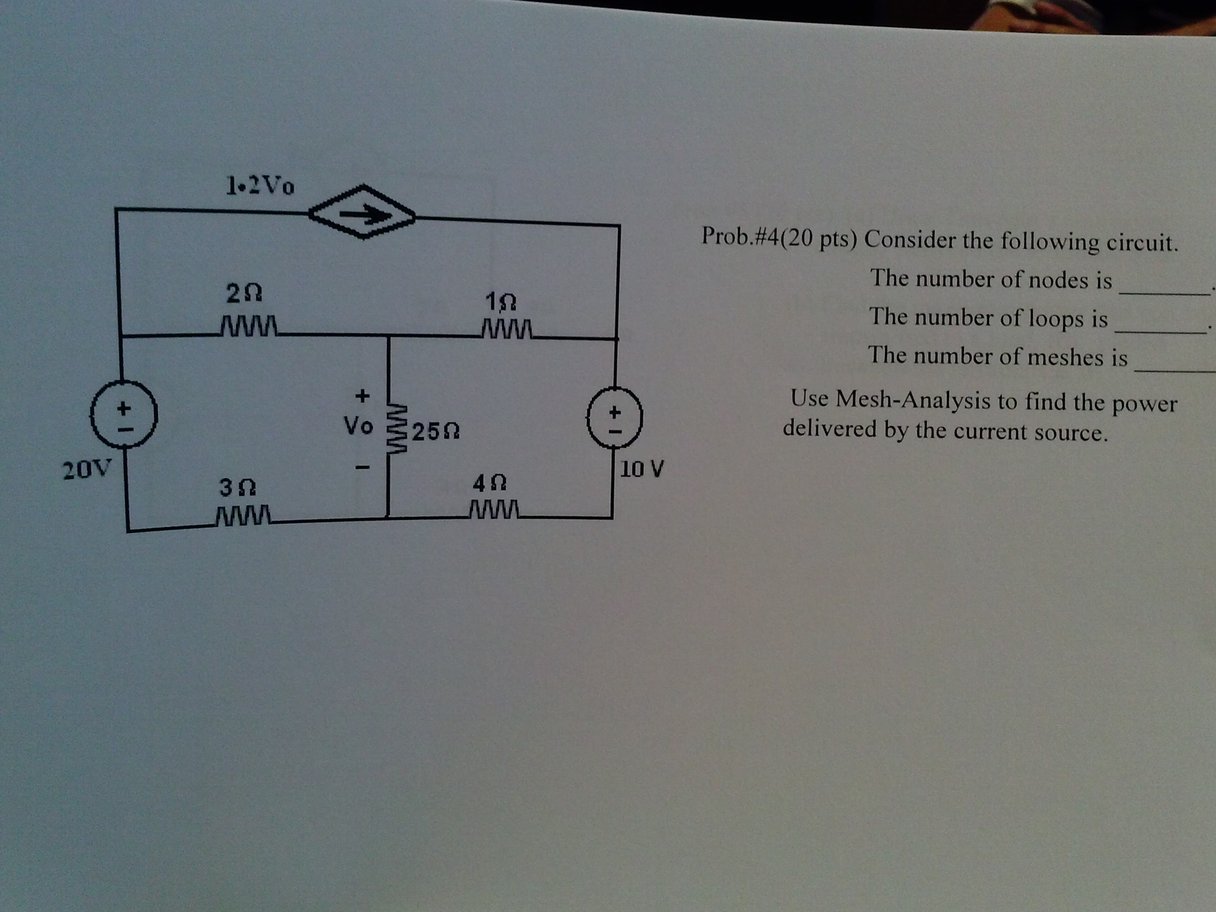 Consider the following circuit. The number of nod