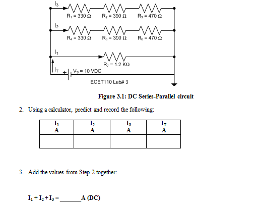 Figure 3.1: DC Series-Parallel circuit Using a ca