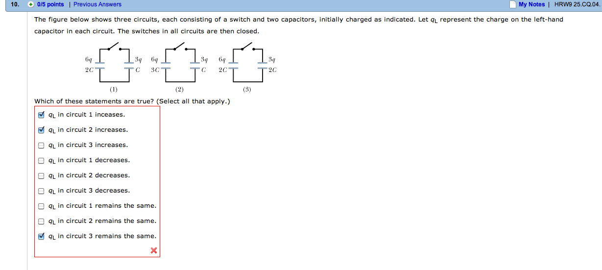 The figure below shows three circuits, each consis