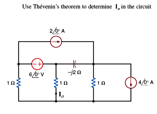 Use Thevenin's theorem to determine Io in the circ