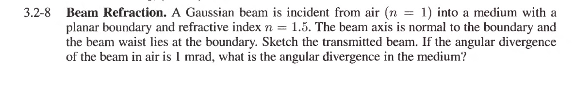 Beam Refraction. A Gaussian beam is incident from