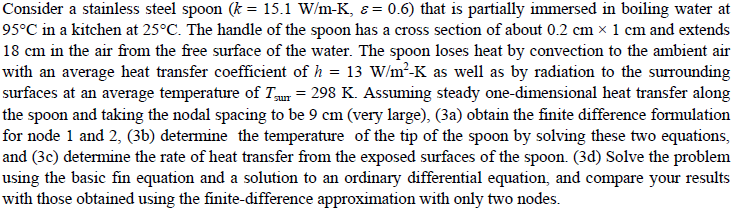 Consider a stainless steel spoon (k = 15. 1 W/m-K2