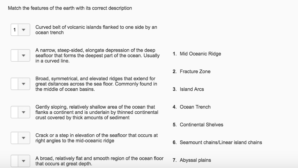 Match the features of the earth with its correct d for Ocean floor description