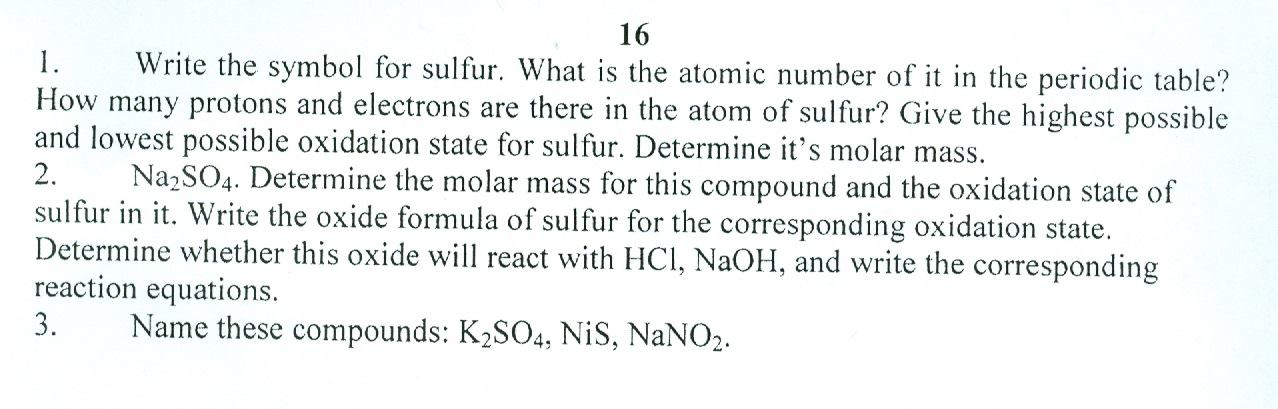 Solved write the symbol for sulfur what is the atomic nu question write the symbol for sulfur what is the atomic number of it in the periodic table how many prot urtaz Gallery