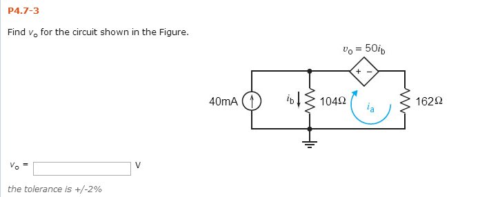 Find vo for the circuit shown in the Figure. Vo =