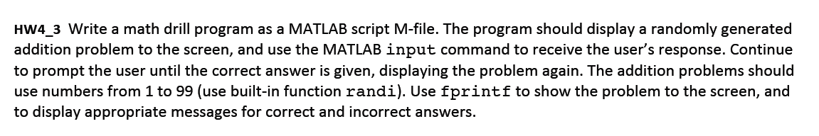 HW4_3 Write a math drill program as a MATLAB scrip