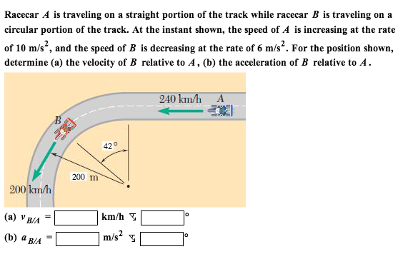 Racecar A is traveling on a straight portion of th