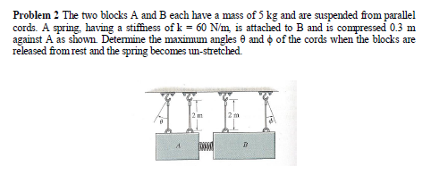 The two blocks A and B each have a mass of 5 kg an
