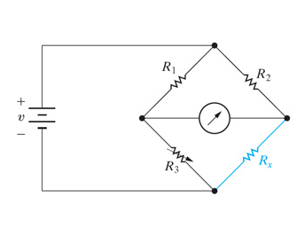 The bridge circuit shown in the figure is energize