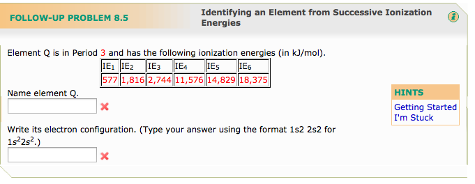 Element Q is in Period 3 and has following ionizat