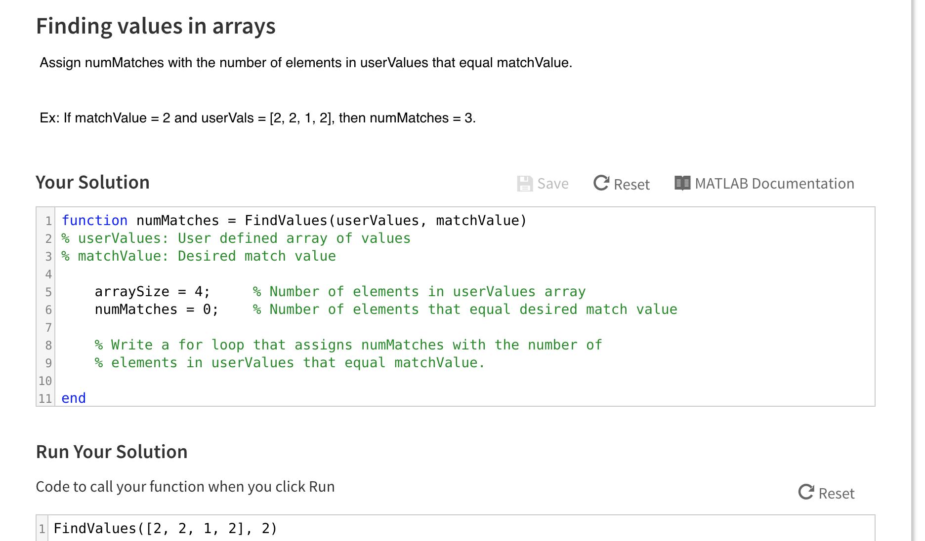 array values