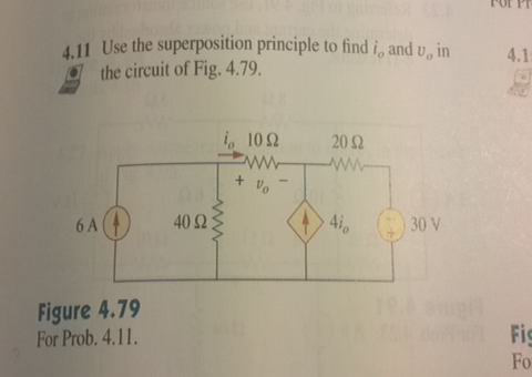 Use the superposition principle to find i0 and v0