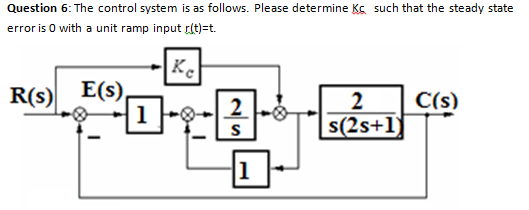 Question 6: The control system is as follows. Plea