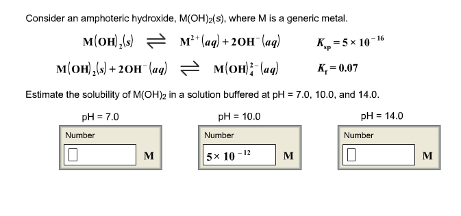 Consider an amphoteric hydroxide, M(OH)2(s), where