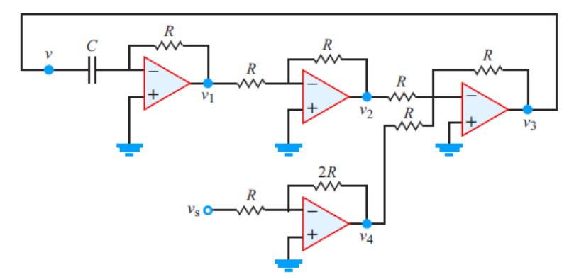 Design an op-amp circuit that solves the different