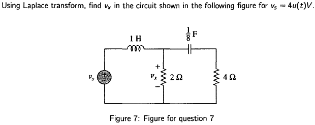 Using Laplace transform, find vx in the circuit sh