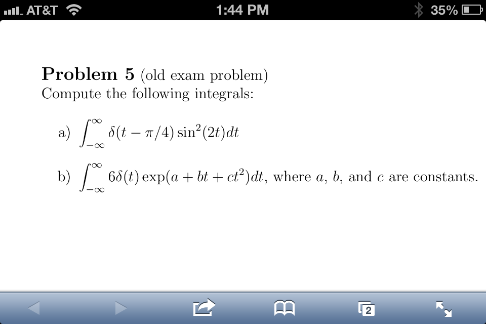 Compute the following integrals: a) Z 1 ..1 (t ..