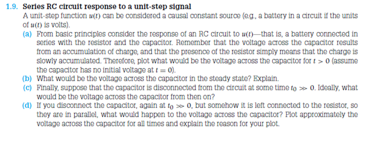 Series RC circuit response to a unit-step signal