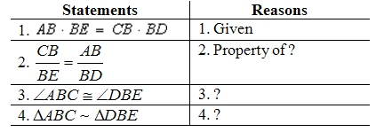 Complete the proof. Given: AB • BE = CB • BD Prove