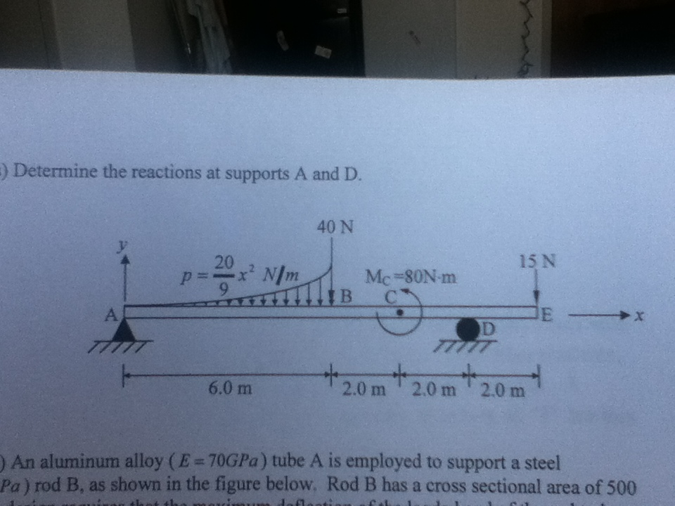 Determine the reactions at supports A and D. An a