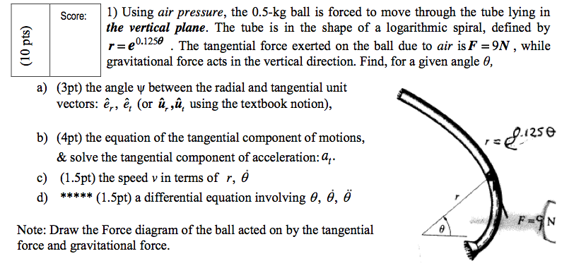 Using air pressure, the 0.5-kg ball is forced to m