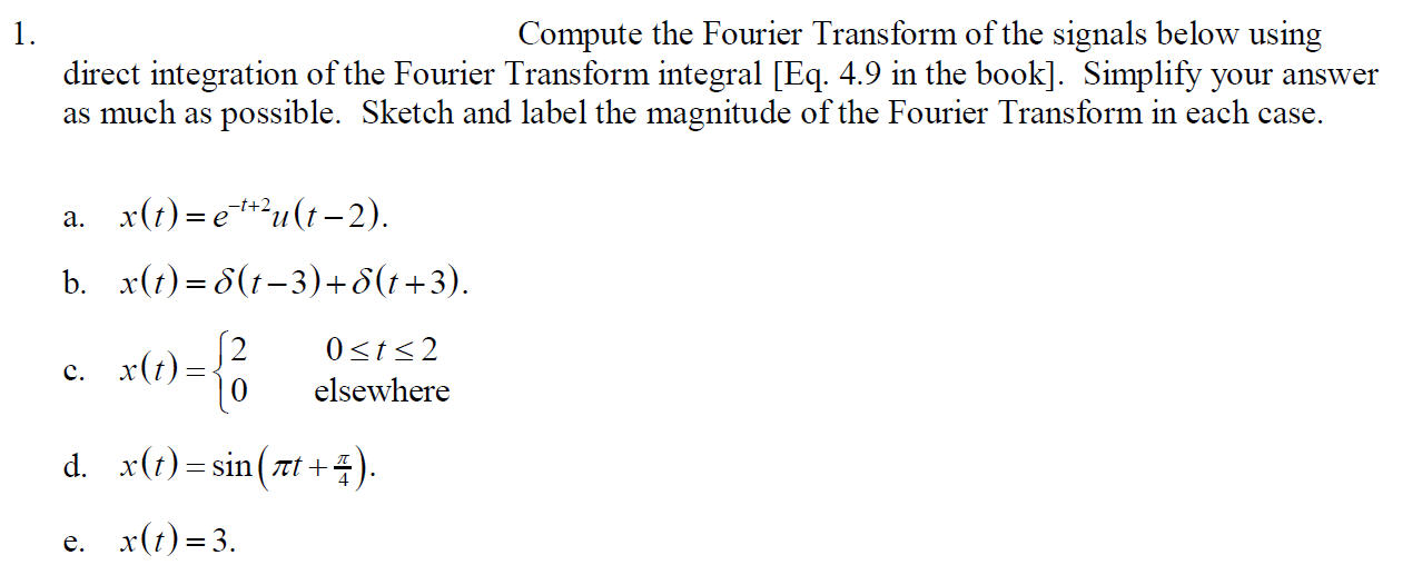 Compute the Fourier Transform of the signals below