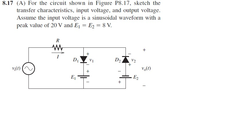 For the circuit shown in Figure P8.17, sketch the