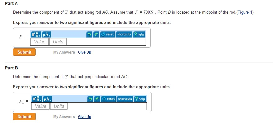 Determine the component of F that act along rod AC