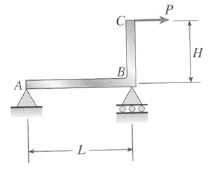 A horizontal load P acts at end C of the bracket A