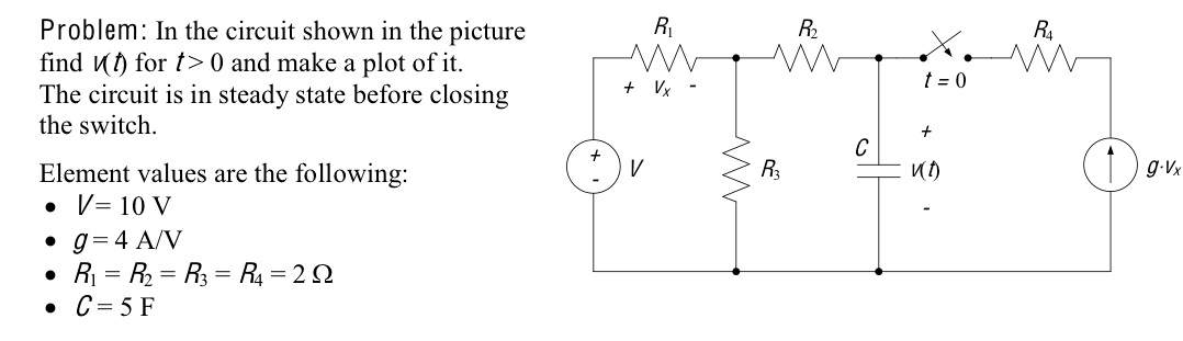 In the circuit shown in the picture find v[t) for