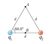 The two charges in the figure below are separated