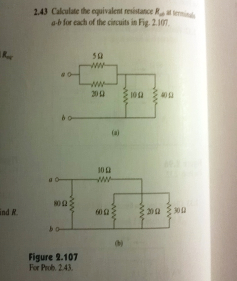 Calculate the equivalent resistance R a-b for eac